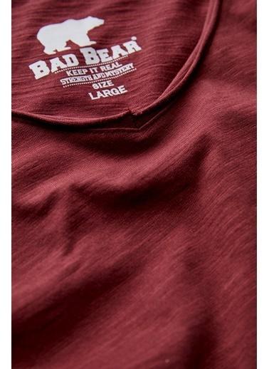 Bad Bear Erkek Tişört V-Neck 180107012-Wht Bordo